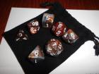 7 Würfel im Set mit Beutel - Braun - D&D - RPG
