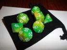 7 Würfel im Set mit Beutel - Gelb - D&D - RPG